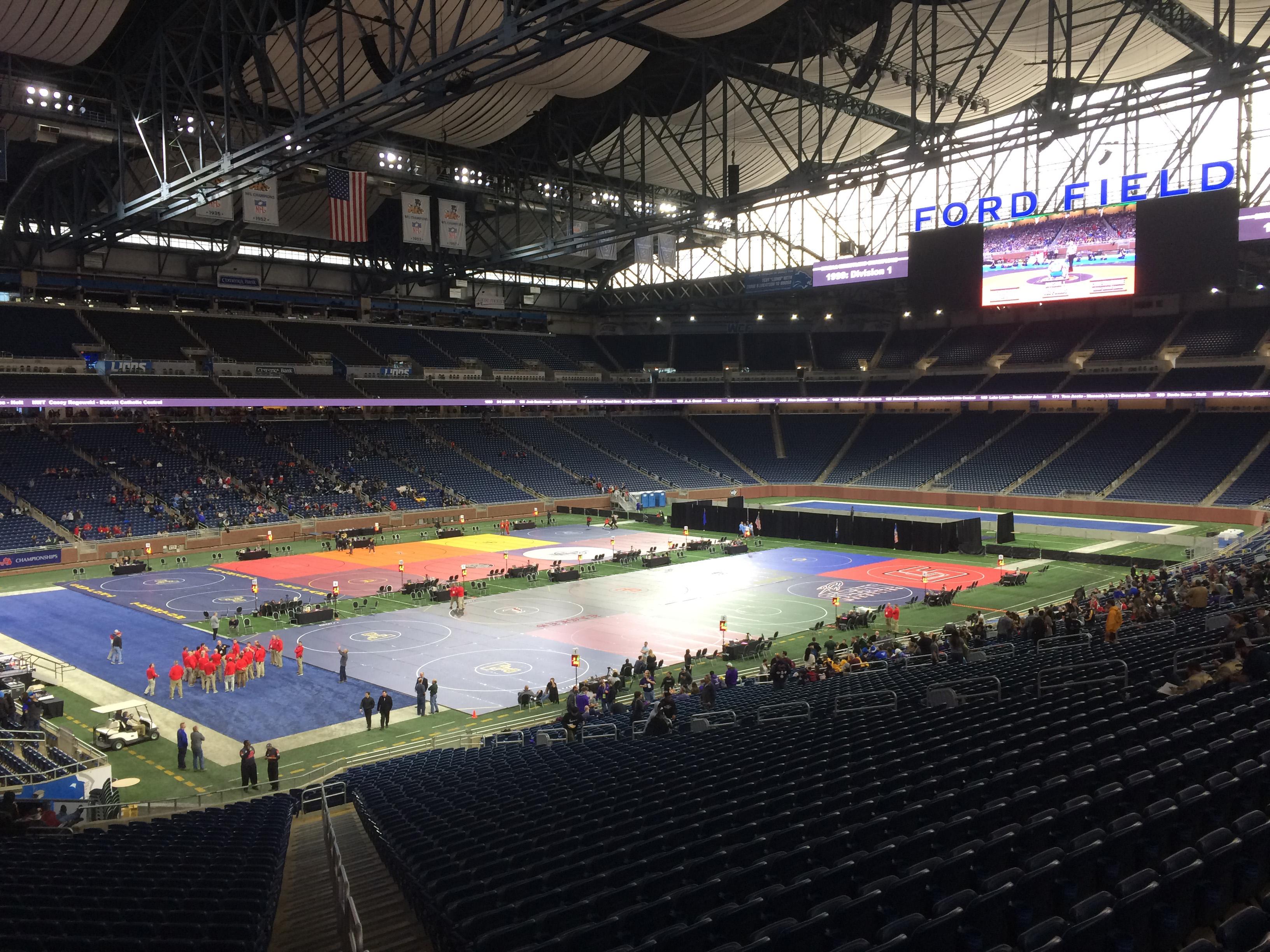 Image result for mhsaa wrestling finals 2020 ford field